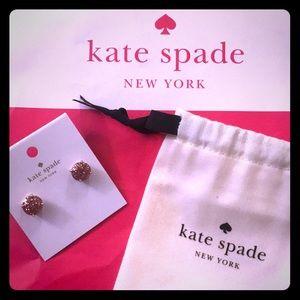 Kate Spade ♠️ Rose Glitter Gold stud earrings